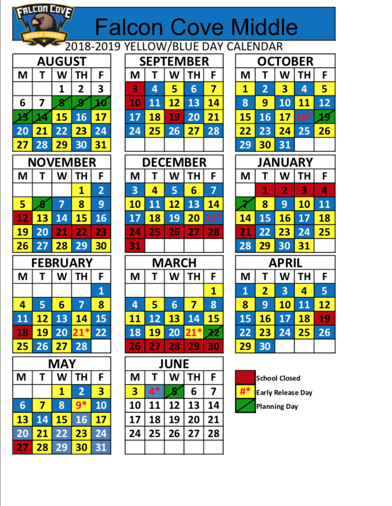 This new schedule shows the 'Blue' days vs. the 'Yellow' days.