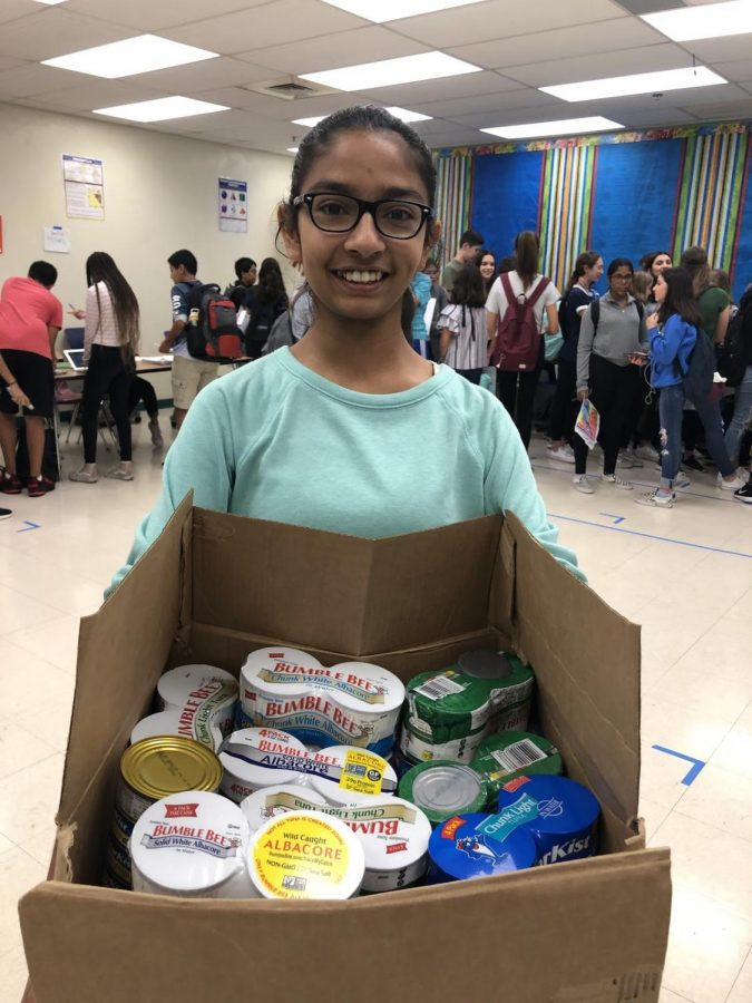 Samhita Kashyap is co-chair of the NJHS Harvest Drive committee along with Riya Desai.