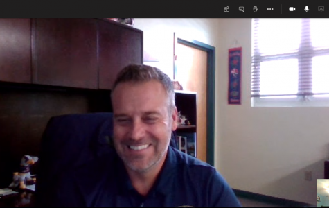 Jonah Feldman snaps a picture of a virtual interview with Principal Carruth