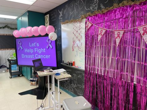 HOSA decorates their classroom to support breast cancer.